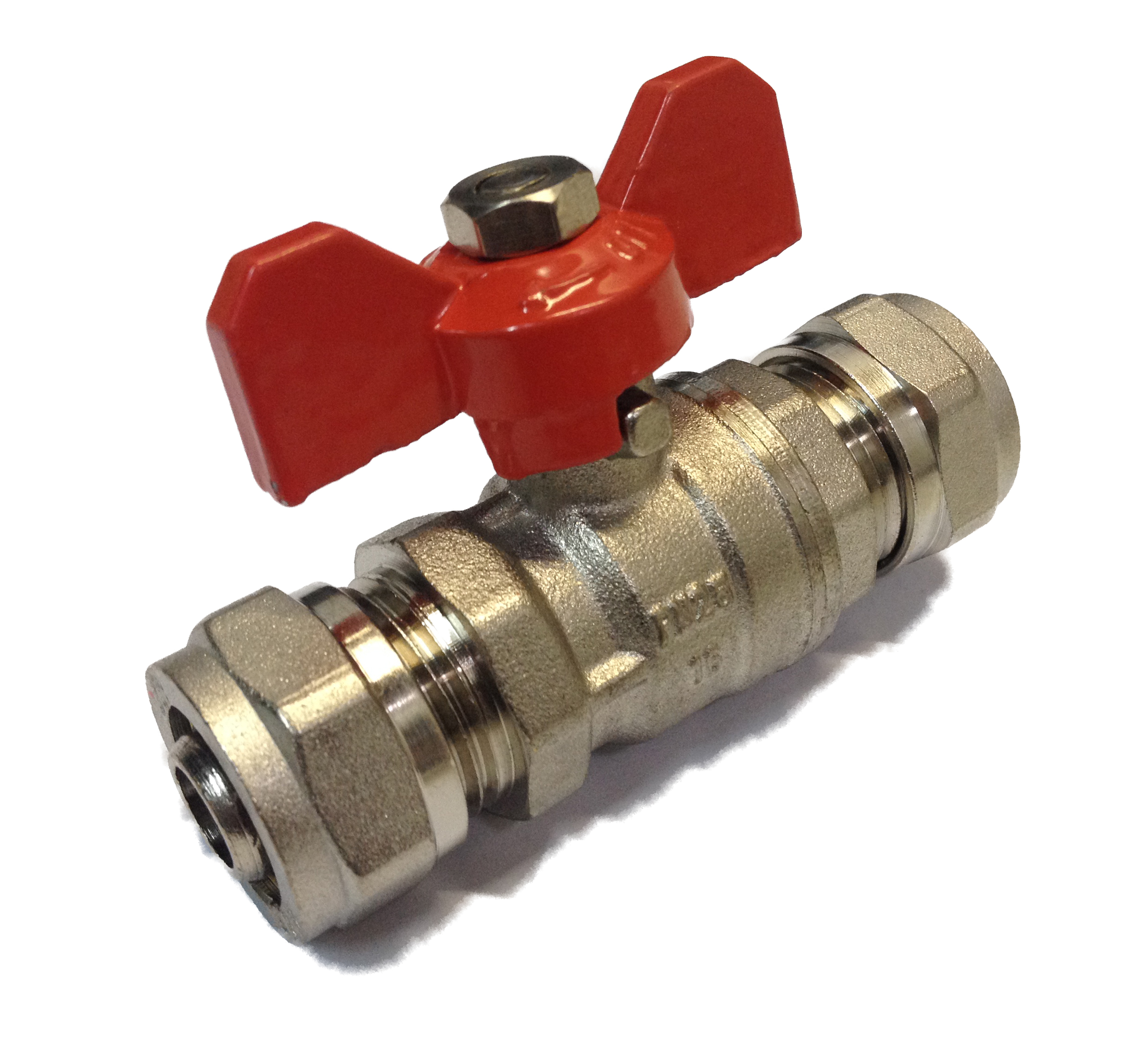 Ball Valve w/ Butterfly 16x16 Red