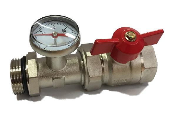 "Temerature gauge  T-end unit Red valve 1""M"