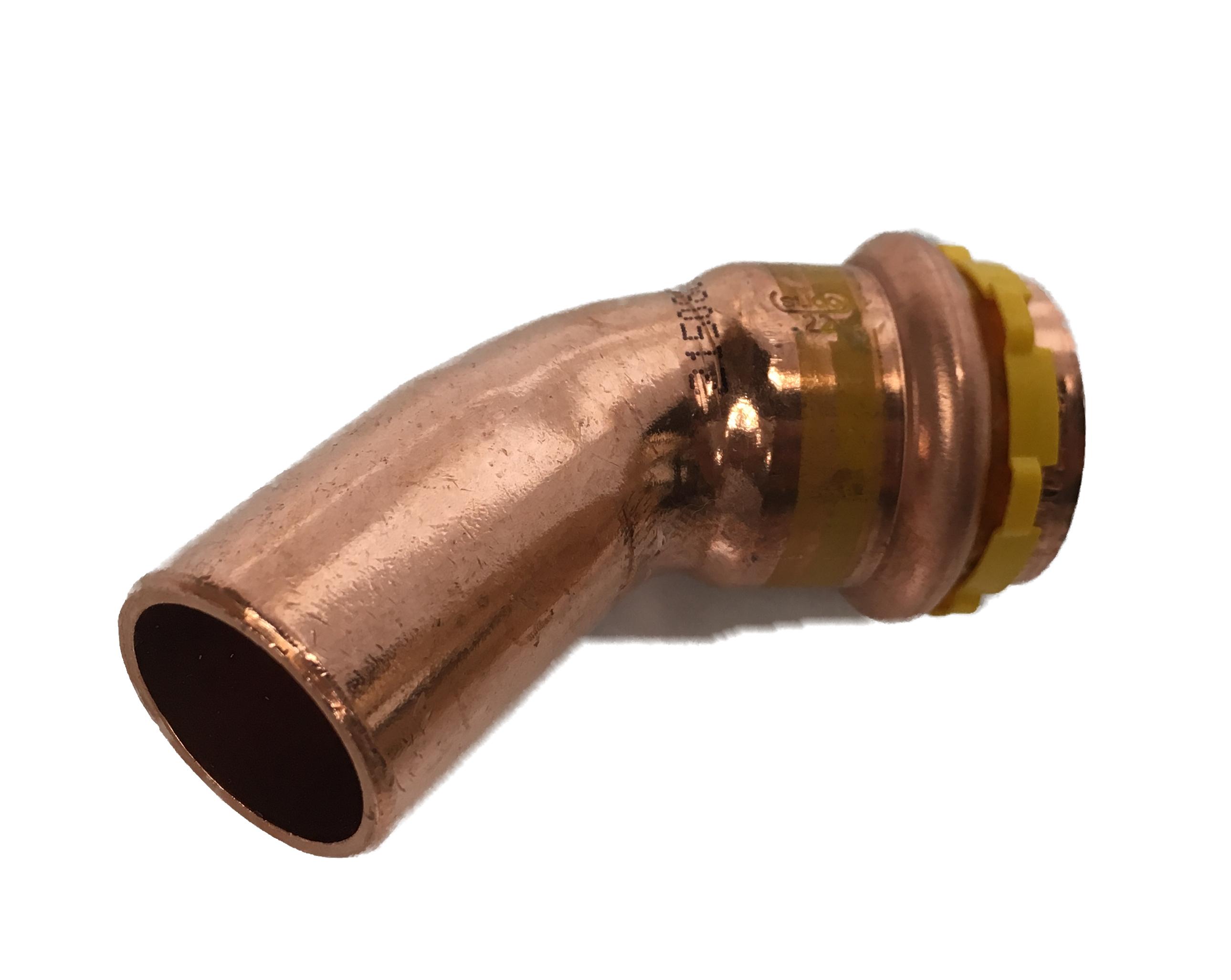 Copper Sudopress Press 45°Bend for GAS 15x15 V-profile