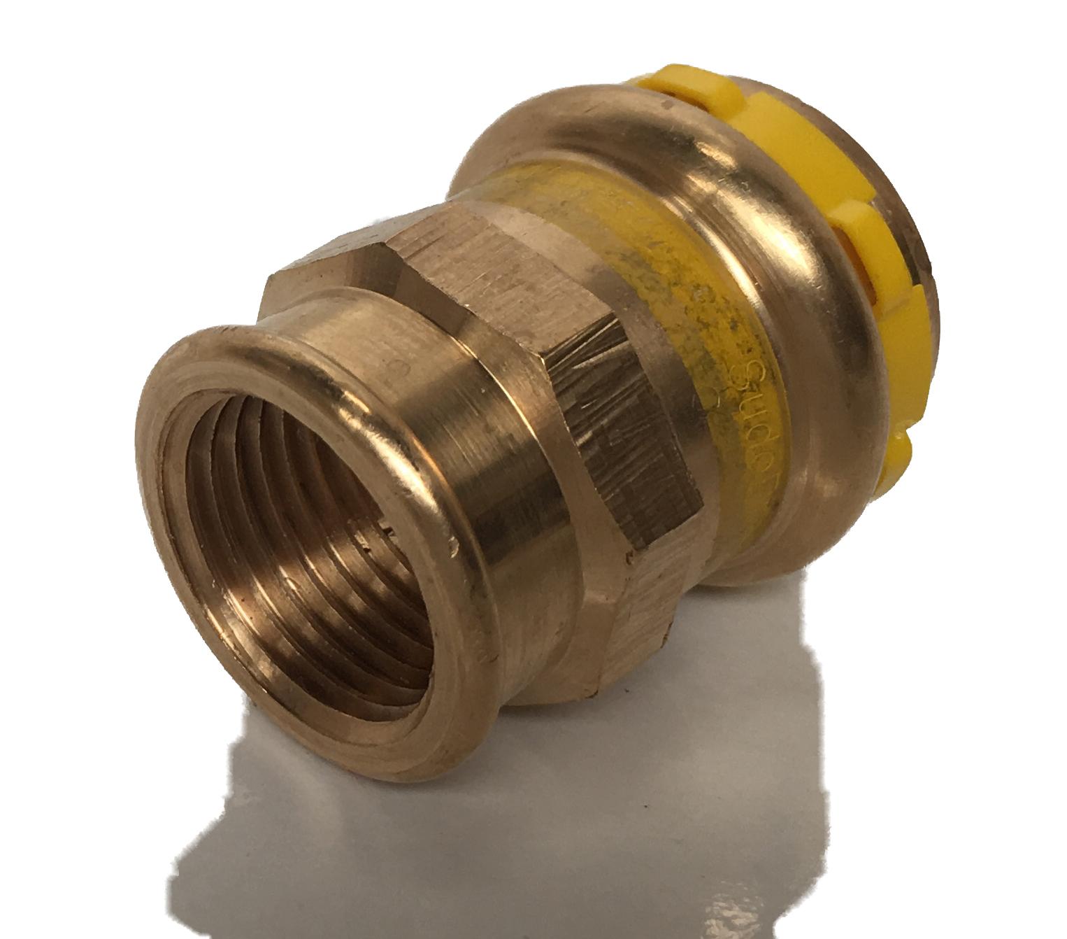 Straight fitting Copper Sudopress Press GAS 18x1/2F V-profile