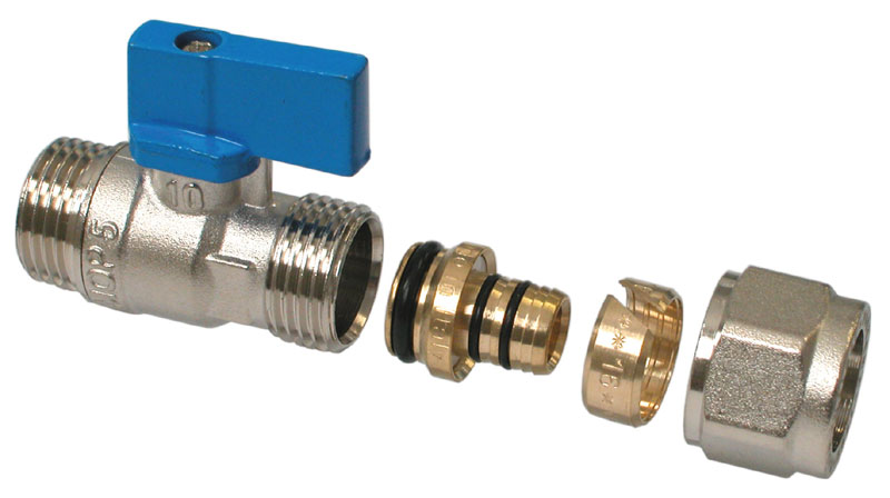 Mini Ball Valve 16 x 1/2M oring BLUE Nickelplated + removable nipple