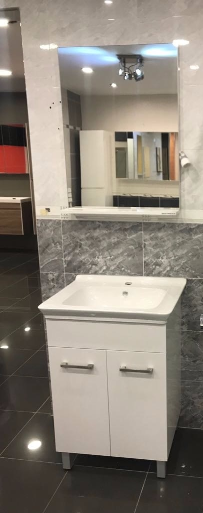 Bath Cabinet 60 cm WHITE on feet w/ wasin and mirror