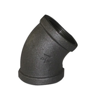 Malleable Iron Elbow 45° 6/4Fx6/4F Black