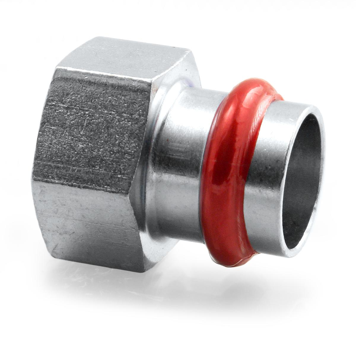 Press Steel Straight Female 4/4Fx22
