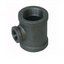 Malleable Iron Reducing Tee 4/4Fx1/2Fx1/2F Black