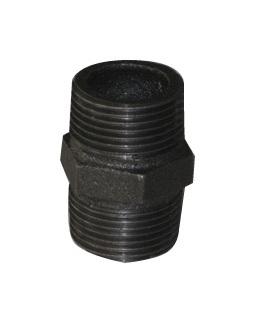 Malleable Iron Nipple 1/2Mx1/2M Black