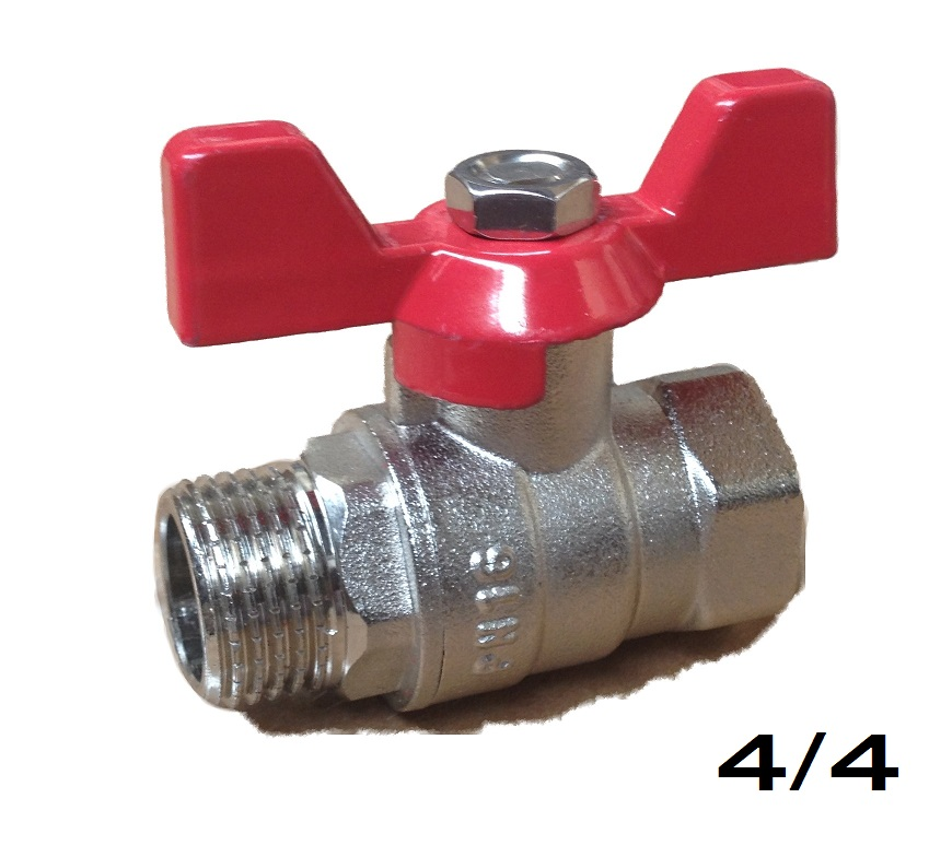 Ball Valve w/ Butterfly 4/4 MxF Red