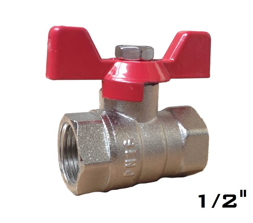 Ball Valve w/ Butterfly 1/2 FxF Red