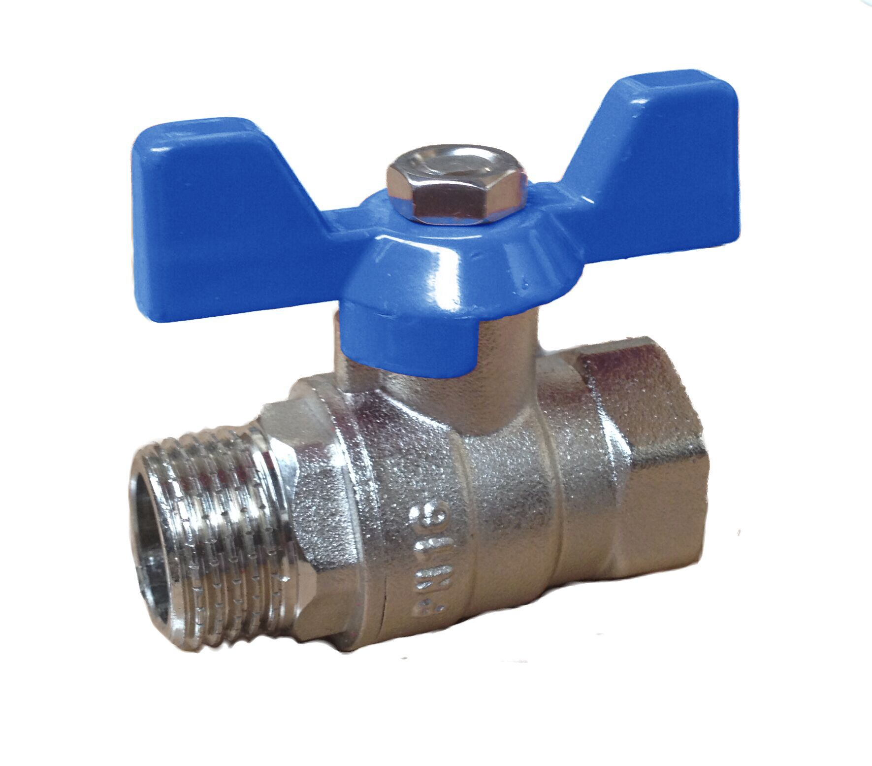 Ball Valve w/ Butterfly 1/2 MxF Blue